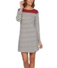 Look at this J-Mode USA Los Angeles Black & White Stripe A-Line Dress on #zulily today!