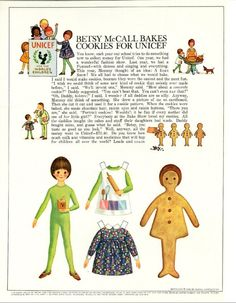 Vintage September 1966 Magazine Paper Doll Betsy McCall Bakes Cookies for Unicef