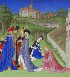 Avril des Très Riches Heures du Duc de Berry, Frères Paul, Jean et Hermann de Limbourg 1410-1416. Barthélemy d'Eyck C. 1440. Jean Colombe 1485-1486