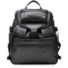 Alexander McQueen Leather Backpack (£1,485) ❤ liked on Polyvore featuring men's fashion, men's bags, men's backpacks, black and mens leather backpack