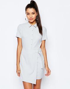 Image 1 ofMissguided Short Sleeve D-Ring Wrap Shirt Dress