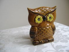 Vintage Owl Ceramic Statue COOL Retro Holder by vintagenowandthen