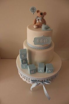A baby boy christening cake for one of my oldest friends little boy. What a nightmare I had this week with the hot weather,I hate fondant in the heat its not good Baby Boy Christening Cake, Baby Boy Cakes, Baby Shower Cakes, Cakes For Boys, Fancy Cakes, Cute Cakes, Foto Pastel, Foundant, Baptism Party
