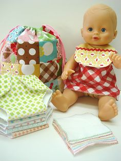 make your own baby doll bibs, dress, diapers & diaper bag -- makes a great gift for kids