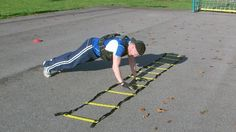 Agility ladder side shuffle planks - park training