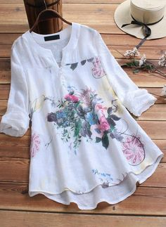 O-NEWE Vintage Print Patchwork Plus Size Blouse for Women can cover your body well, make you more sexy, Newchic offer cheap plus size fashion tops for women. Plus Size Blouses, Plus Size Dresses, Blouse Vintage, Dress Vintage, Vintage 70s, Vintage Sewing, Mode Outfits, Blouses For Women, Plus Size Fashion