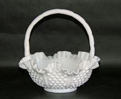 Fenton Vintage Hobnail Rope Milk Glass Ruffled Basket 8 Inch 3638 #Basket