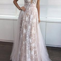 New Arrival A-line V-neck Long Tulle Prom Dress Wedding Dress