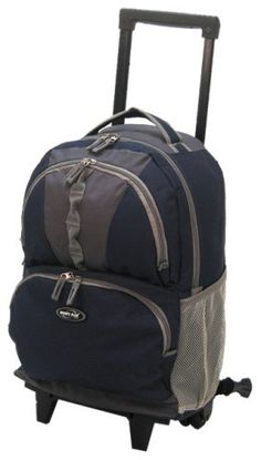 """Olympia 18"""" Rolling Backpack, Navy, One Size Olympia. $26.74. Us patented recessed 2x2 wheels. polyester. Hide-away retractable rectangular handle system. Hide-away padded shoulder straps and multi front zipper pockets. Made In China. Constructed Of High Density Polyester-Dura Weave"""
