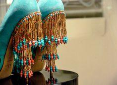 Dior suede turquoise peep-toe fringe heels