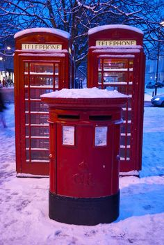 Phone Boxes by mollerenshaw, via Flickr.  Phone boxes and a pillar box on the Promenade, Cheltenham. England.