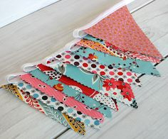 Baby Bunting Fabric Banner Baby Nursery Decor  - Aqua Blue and Red Vintage Nursery - Ready to Ship