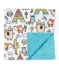 Lolly Gags 28 x 28 Blue & White Cactus Stroller Blanket | zulily