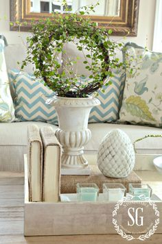 DECORATING WITH NEUTRALS-pop of color-stonegableblog.com