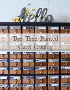 two tone black and white card catalog using Old Fashioned Milk Paint Co milk paint