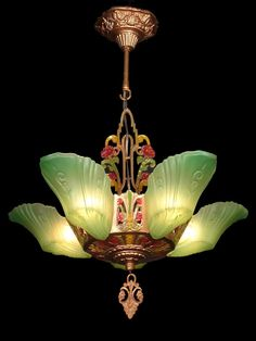 ANTIQUE ART DECO GREEN GLASS, 5 SLIP SHADE CHANDELIER LIGHTS LAMPS FIXTURE c1930