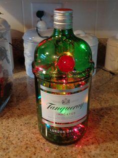 Green 1.75Lt Tangueray  Gin Liquor Bottle Lamp- Muti-Colored Lights (20)/Garland