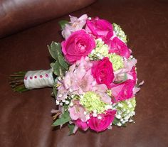 Pink and Green wedding bridal bouquet by Bella by Sara