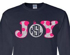 Polka Dot JOY Monogram Ornament Adult Long Sleeve T-Shirt, Christmas Monogram Clothing, Personalized Holiday Shirt