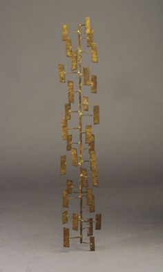 """Harry Bertoia steel and bronze branch scupture with projecting rods and """"floating"""" rectangles"""