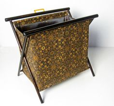 vintage knitting caddy with mustard and brown flowers and wood frame - 1970s - $16.00