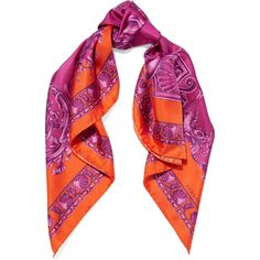 Versace Printed silk satin twill scarf ($425) ❤ liked on Polyvore featuring accessories and scarves