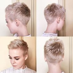 52 Modern Pixie Cuts To Try This Summer Short pixie by Sarah B Short Pixie Haircuts, Pixie Hairstyles, Short Hairstyles For Women, Short Hair Cuts, Pixie Cuts, Ftm Haircuts, Trendy Hairstyles, Super Short Hair, Corte Y Color