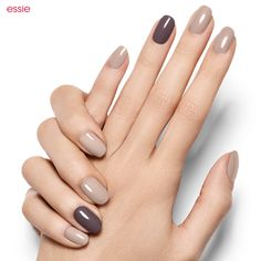 essie instantly creates mysterious charm with sand tropez, a soft sandy beige, and a single nail accent in stone cold fox gray.