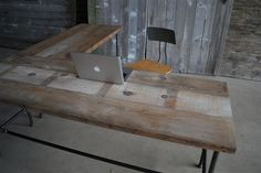 L Shaped Reclaimed Wood Desk | Modern Office Furniture |Urban Wood | doesn't ship to Australia
