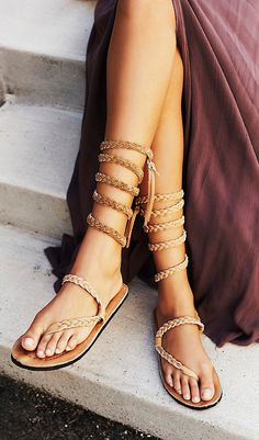 Free People x HMH braided leather wrap sandals! Strappy Sandals, Gladiator Sandals, Leather Sandals, Shoes Sandals, Flat Sandals, Cheap Sandals, Gladiators, Wedge Shoes, Dress Shoes