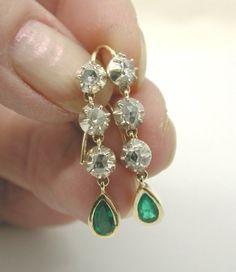 Georgian Diamond and Emerald Earrings