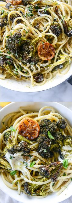 Blackened Broccoli Pasta with Goat Cheese and Lemon I howsweeteats.com