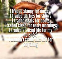 I traded skinny for muscle. I traded parties for shows. I traded heals for…