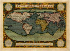 AbrahamOrtelius: Typus Orbis Terrarum. This is the third state of the map, which first appeared in 1589 and adds the new embellishments, including the strapwork around the image and the medallions with quotes from Cicero and Seneca. The map is based upon Mercator's map of 1569, Gastaldi's map of 1561 and Diego Gutierrez' portolan map of the coastlines of the Atlantic.