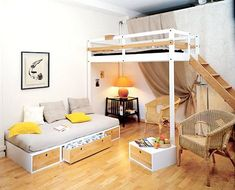 cama alta con zona de relax abajo