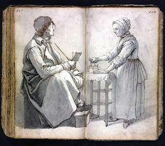 Woman Ironing - Barend Hendrik Thier (~1743-1811), a Dutch artist