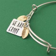 We Are Groot Adjustable Bangle Bracelet - Spiffing Jewelry Bangle Bracelets With Charms, Bangles, Necklaces, Fandom Jewelry, Super Hero Outfits, Marvel Clothes, Jewelry Accessories, Nice Jewelry, Geek Jewelry