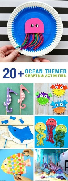 20 Ocean crafts and activities! Make shark, weave a fish and dance with jellyfish! So many fun ocean crafts for kids! Perfect for an ocean theme with preschool or kindergarten! fish crafts Ocean crafts and activities Beach Crafts For Kids, Beach Kids, Toddler Crafts, Preschool Crafts, Art For Kids, Crafts Toddlers, Ocean Theme Crafts, Beach Themed Crafts, Ocean Themes
