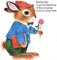 "Richard Scarry, The Bunny Book ""Rabbits like to get dressed up if the are going to be in a storybook"" super cute Richard Scarry, Bunny Book, Bunny Art, Just Dream, Little Golden Books, You Draw, Vintage Children's Books, Woodland Creatures, Children's Book Illustration"