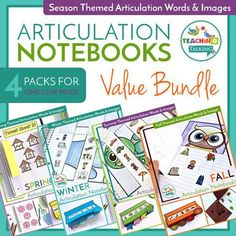 Articulation Notebooks - Seasonal Editions Bundle by Teaching Talking Articulation Therapy, Articulation Activities, Speech Therapy Activities, Speech Language Pathology, Language Activities, Speech And Language, Interactive Notebooks, Mini Books, Seasons