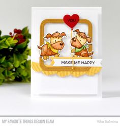 Puppy Pals Stamp Set and Die-namics, Fringed Scallop Borders Die-namics, Heart-Shaped Balloon Die-namics, Single Stitch Line Rounded Square Frames Die-namics, Essential Fishtail Sentiment Strips Die-namics, All About You Stamp Set - Vika Salmina #mftstamps