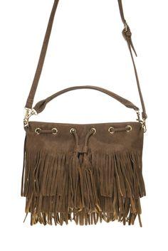 Long Fringe Draw String Accented Messenger Bag With Shoulder Strap #GetEverythingElse #MessengerCrossBody