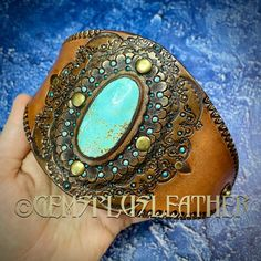 Welcome to see more pictures of this #tooledleather #cuff #bracelet with #turquoise in my #Etsyshop #GemsPlusLeather 😌 Ordering outside #Etsy is cheaper thus you're welcome to contact me directly 🙃 #handmade #Gemsforall #leather #leathercraft #Leatherwork #artisan #artisanjewelry #leatherjewelry #instajewelry #jewelrygram #gemstonejewelry #jewelry #giftforher #lavkacraft #handmadejewelry #instagood #leatherfashion #leatherstyle #instadaily #leatherhandmade #leathergoods #luxury #luxuryleather Leather Ring, Tooled Leather, Leather Cuffs, Leather Tooling, Leather Jewelry, Artisan Jewelry, Handmade Jewelry, Leather Gifts For Her, Custom Leather
