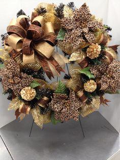 Black Tinsel Wreath  Leopard Christmas Wreath w/Deco Mesh  by Christian Rebollo for store 1552