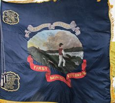 Flag of First Minnesota Volunteer Infantry Regiment: The first group to be called to action in the Civil War.  It all happened because Minnesota Governor Alexander Ramsey was in Washington D. C. when the war broke out and was first to promise aid to the federal government to preserve the union.  At the start of the conflict, there were 35 states.  By war's end, there were 36 states total in the country.  Many more were added later to give us 50.