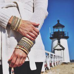 Sankaty Lighthouse wearing handmade Nantucket Bracelets caitlin@nantucketbracelets.com