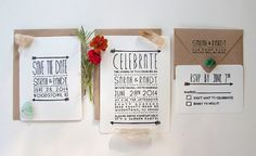 Stamped Wedding Invitation Set