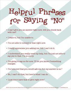 Helpful Ways To Say NO (Healthy Boundaries)