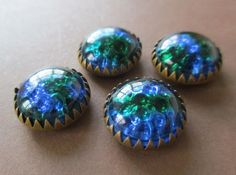 BEAUTIFUL TINY VINTAGE GLASS & BRASS BUTTONS PEACOCK BLUE & GREEN FOIL noelhumphrey on eBay.co.uk