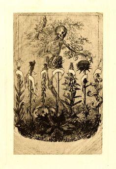 Unpublished frontispiece for 'Les Fleurs du Mal' by Baudelaire (1857)